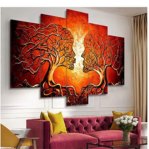 A&D Modern canvas kunst schilderij 5 panelen abstracte liefde kus dames boom canvas schilderij afdrukken Home Office woonkamer wand-30x40 30x60 cm geen lijst