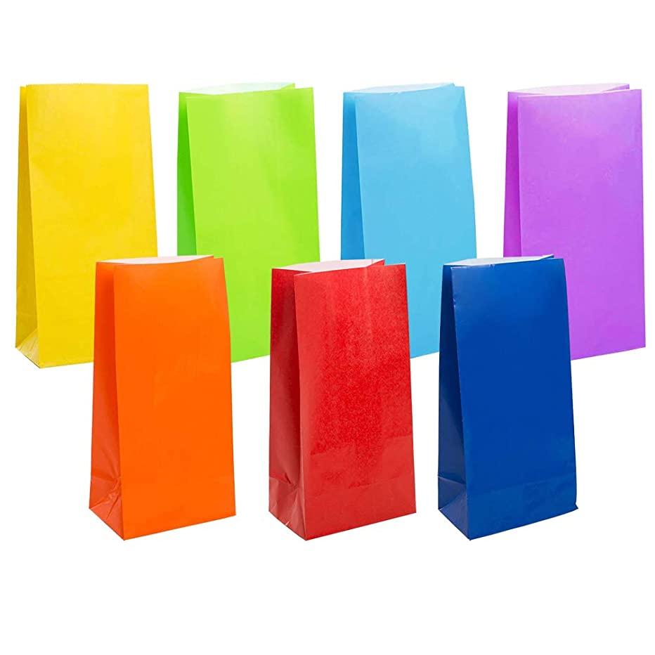 KEYYOOMY Small Bright Color Paper Bags Rainbow Party Goody Bags for Wedding Baby Shower Kid's Birthday Party (Rainbow, 49 CT, 3.1 X 5.1 X 9.4 in)
