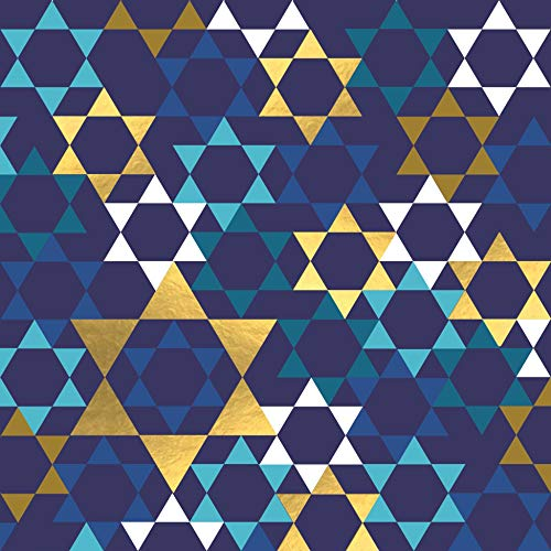 Decorative Paper Napkins Hanukkah Napkins Disposable Hanukkah Party Napkins Blue and Gold Foil Napkins Dessert, Lunch 6.5' x 6.5' Pak 32