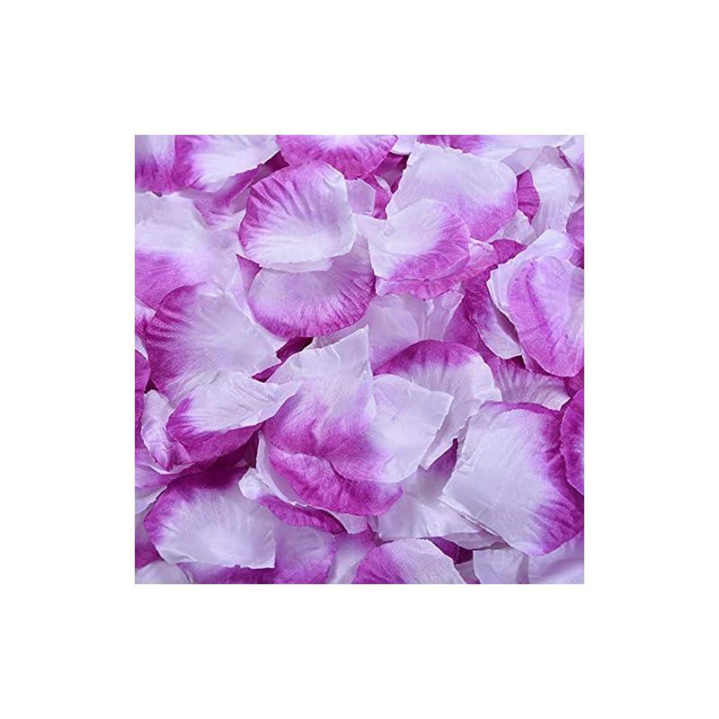 silk flower arrangements yanstar purple&white artificial silk rose petals for wedding party valentine day flower decoration-1000 pcs bulk package
