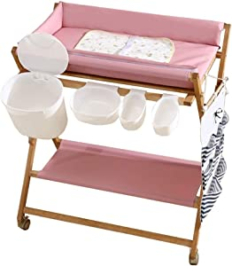 YEMOPDB Baby Diaper Changing Table-Roller Changing Table Wooden Frame Folding Diaper Station Toddler Bathing Station  Baby Goods Storage  Suitable For Families And Travel
