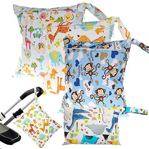 Windeltasche Wickeltasche,OSUTER 4PCS Wetbag Wasserdicht Wiederverwendbare Nasstaschen mit Reißverschluss für Kleinkind Windeln Reisen