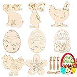 Adornos de Madera Decoraciones de Pascua, 40 Piezas Partido Etiqueta Huevos de Pascua de la Flor del Conejo, para Manualidades de Pascua de Bricolaje, Suministros de Fiesta de Pascua