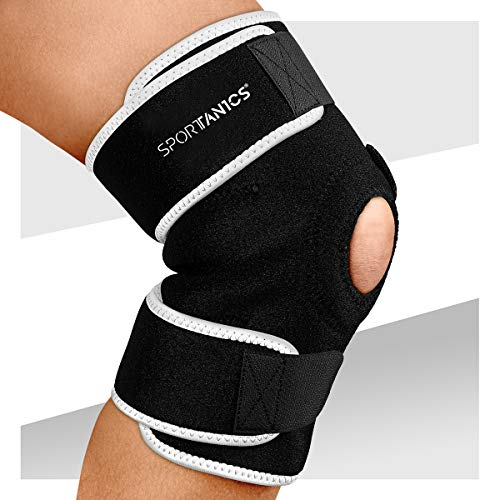 sportanics® Kniebandage mit Klettverschluss für Damen und Herren - Stabilität & Support von Knie und Meniskus beim Sport, Knie Bandage mit flexibler Größe