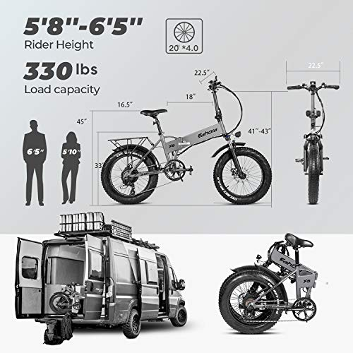 Eahora X5 Pro 4   8V 500W Folding Electric Bike Cruise Control 20 Inch Fat Tire Electric Mountain Bike Snow Beach Electric Bicycle 10.4Ah Ebike for Adults with Electric Lock Power Regeneration 7 Speed