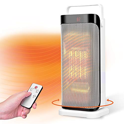 Oscillating Space Heater - Portable Ceramic Electric Heater w/ Remote, thermostat, 3 Modes, 12H Built-in Timer & Overheat Protection, Quiet Room Heater for Bedroom, Garage, Office, Home Indoor use