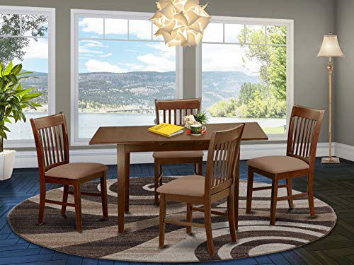 NOFK5-MAH-C 5 Pc Kitchen nook Dining set - Table with a 12in leaf and 4 Dining Chairs