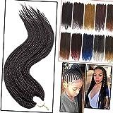 1 paquete de trenzas de caja Crochet Hair 66cm 3X Extensiones de cabello trenzado sintético Crochet Braids Hair (negro natural)