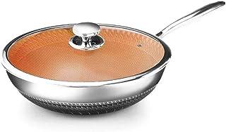 ZKZK Frying Pan Acero Inoxidable Sartén-Doble Cara de Nido de Abeja sartén Antiadherente, sin Humo Olla, sartén Fogón de Gas de Universal
