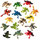 Mukum 16Pcs Plastic Frogs Toy Mini Vinyl Frogs Fun Rainforest Character Toys for Boy Girl