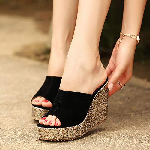 ypyrhh On Mules Shower Sandals Schuhe,Plateau-Keilsandalen mit Pailletten für Damen,Flip-Flop 10CM High Heels-Black_34,Klassische Bequeme Sandale