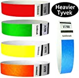 """Heavier Tyvek Wristbands 7.5 Mil – Goldistock 500 Count Rainbow Variety Pack – ¾"""" Arm Bands -100 Each: Neon Green, Blue, Red, Yellow & OrangePaper-Like Party Armbands - Wrist Bands forEvents"""