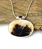 Moss Warmth- DENDRITIC AGATE Slab (2.6 x 3.5 cm) and Garnet Natural Gemstone, 925 Sterling Silver, Special Scenic Oval Pendant (3.4 cm Long) Handmade Jewelry with Free Silver Chain.