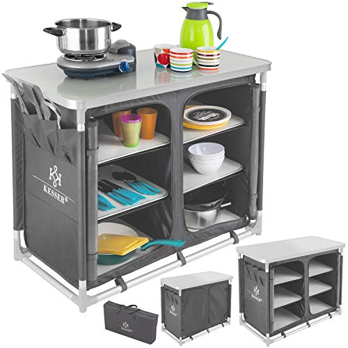 KESSER® Campingküche | Ink. Tragetasche | Campingschrank | mit Aluminiumgestell | Reiseküche | Küchenbox | Zeltschrank | Outdoor Camping Küche | Modelle wählbar Grau