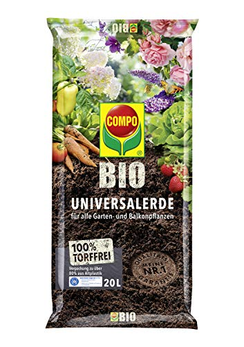 COMPO BIO Universal-Erde für Zimmerpflanzen, Gemüse, Obst und Kräuter, Torffrei, Kultursubstrat, 20 Liter, Braun