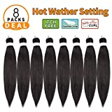 Pre-stretched Braiding Hair 20' -8packs/lot Itch Free Hot Water Setting Synthetic Fiber Crochet Braiding Hair Extension Twist Braid (#2)