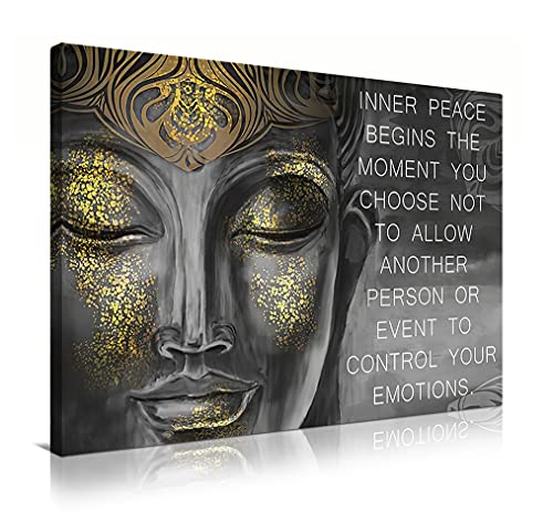 Buddha Wall Art Meditating Buddha Paintings Inspirational Motivational Zen Quote Wall Decor for Living Room Yoga Room Modern Home Decor 16x24in