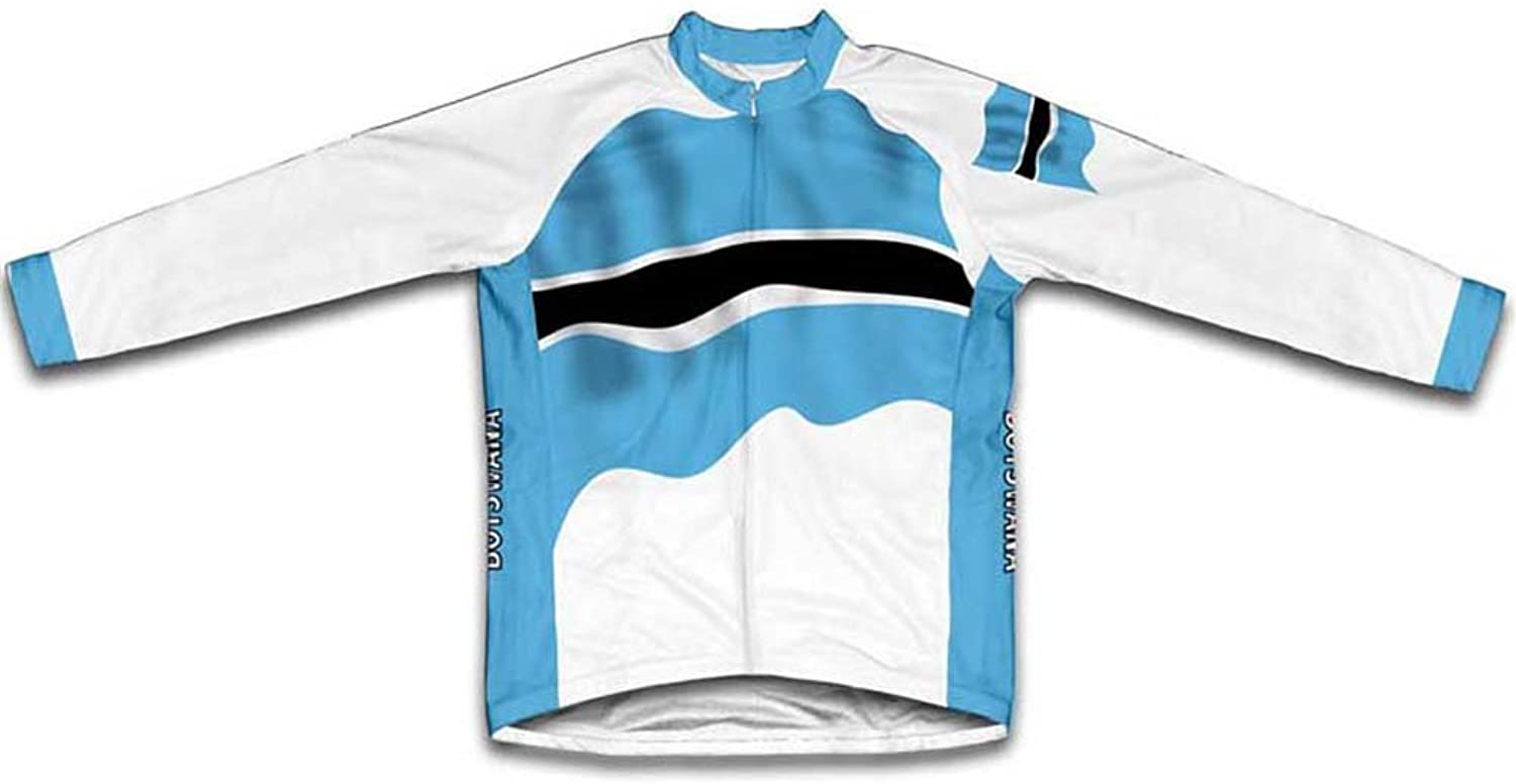 Botswana Flag Winter Thermal Cycling Jersey for Women