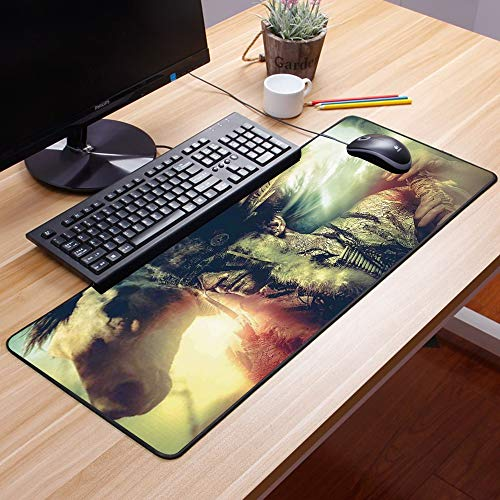 Comfortable Mouse Pad 60x35 cm,  Decoración, alas de ángel, calavera y corazón llenos de sang,Impermeable con Base de Goma Antideslizante,Special-Textured Superficie para Gamers Ordenador, PC y Laptop