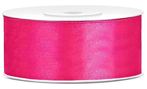 25m x 25mm Rolle Satinband Geschenkband Schleifenband Dekoband Satin Band (Pink (006))