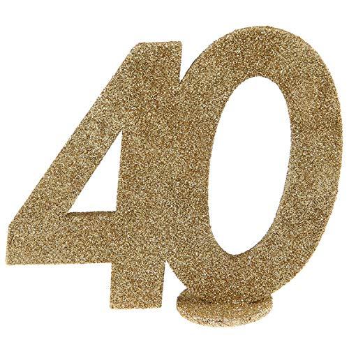 Zahlenaufsteller gold Glitzer - ZAHL 40 - inklusive Standfuß - Geburtstags-Deko Dekoration runder 40. Geburtstag Frau & Mann Happy Birthday Zahlen-Aufsteller Kuchen-Aufsatz Tisch-Dekoration