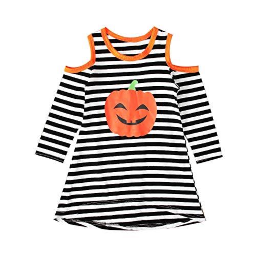 ZODOF Ropa de Halloween Recién Nacido Bebé Niño Niña Calabaza Fuera del Hombro A Rayas Casual Vestidos(4-5 años,Negro)