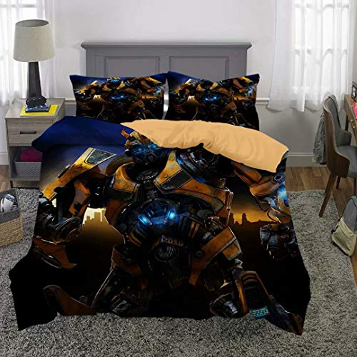 Siyarar Transformer Duvet Cover Bedding Sets Full Size for Boys Teenagers Bumblebee Bed Set 3 Pieces (1 Duvet Cover and 2 Pillowshams) YT9