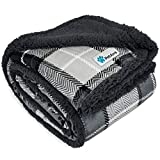 (plaidcharcoalgrey) - PetAmi Premium Pet Blanket - Sherpa Dog Blanket Throw for Cats Dogs...