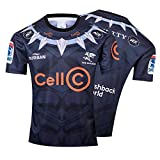 Maillot de Rugby pour Homme,2019 Black The Sharks Rugby Polo Shirt T-Shirt d'entraînement,édition commémorative Supporter Football T-Shirt Sport Top, Meilleur Cadeau d'anniversaire-S