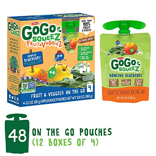 GoGo squeeZ Applesauce on the Go, Variety Pack (Apple Pear/Apple Berry), 3.2 Ounce Portable BPA-Free Pouches, Gluten-Free, 12 Total Pouches