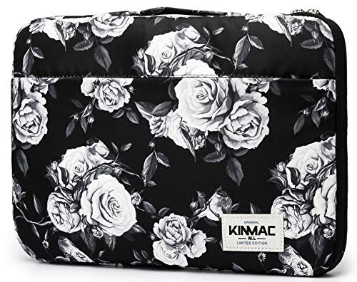 Kinmac 360 Degree Protective Waterproof Laptop Case Bag Sleeve with Handle (15 inch-15.6 inch, White Rose)