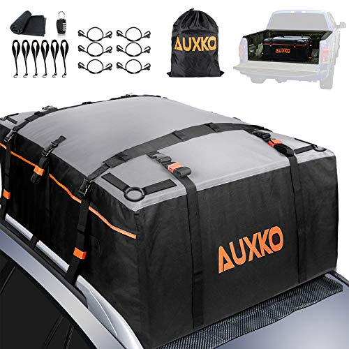 AUXKO Car Roof Bag Top Carrier, 20 Cubic Ft RoofBag Heavy Duty Truck Bed Cargo Carrier Bag, Waterproof Soft Rooftop Luggage Bag Storage Fits All Vehicle with/Without Rack