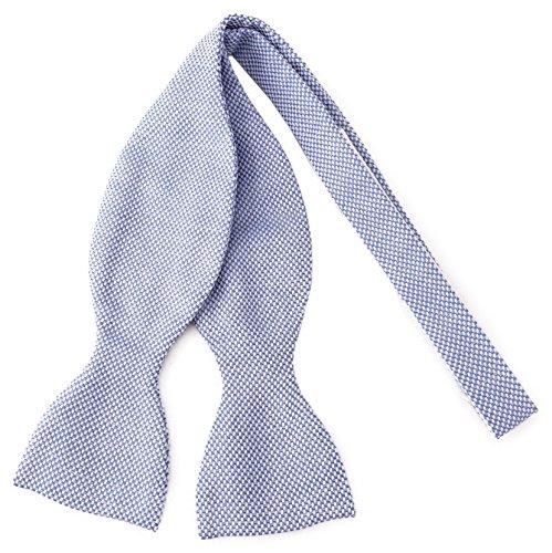 TigerTie Selbstbinder Piqué in blau-weiss gemustert, Querbinder 100% Baumwolle + Aufbewahrungsbox