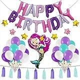 S.Lux 1 Set Tema de Sirena Decoraciones, Pancarta de Feliz cumpleaños Totalmente ensamblada, Globos de Sirena de látex Decoraciones para Fiestas de cumpleaños con Sirenas (Rosado)