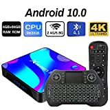 Android 10.0 TV Box 4GB 64GB Decodificador Smart TV Box RK3318 USB 3.0 1080P ultra HD 4K HDR WiFi 2.4GHz 5.8GHz BT 4.1 Reproductor Multimedia de Transmisión con Mini Teclado Inalámbrico Retroiluminado