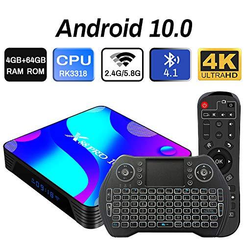 Android 10.0 TV Box 4GB 64GB Decodificador Smart TV Box RK3318 USB 3.0 1080P ultra HD 4K HDR WiFi 2.4GHz 5.8GHz BT 4.1 Reproductor Multimedia de Transmisión con Mini Teclado Inalámbrico Retroiluminado