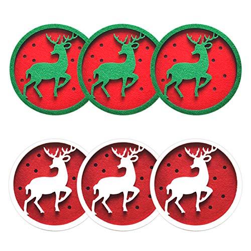 Fuyamp - Set di 6 sottobicchieri natalizi con motivo a fiocco di neve, in feltro, per tè, caffè, vino, vino, con fiocchi di neve, colore: rosso