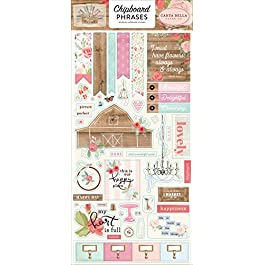 Carta Bella Paper Company Farmhouse Market 6×13 Phrases chipboard, pink, teal, black, woodgrain, cream