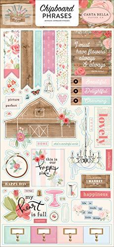 Carta Bella Paper Company Farmhouse Market 6x13 Phrases chipboard, pink, teal, black, woodgrain, cream |
