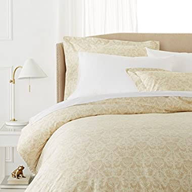 Pinzon Paris Printed Egyptian Cotton Sateen Duvet Set - King, Eggshell