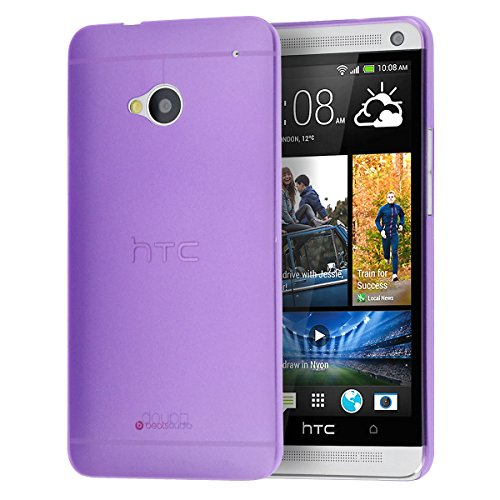 doupi UltraSlim Hülle für HTC ONE (M7), Ultra Dünn Fein Matt Handyhülle Cover Bumper Schutz Schale Hard Case Taschenschutz Design Schutzhülle, lila