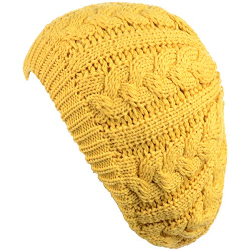 Janice Apparel Women's Warm Soft Plain Color Urban Boho Slouch Winter Cable Knitted Beret Beanie Hat Skull Hat(Yellow)