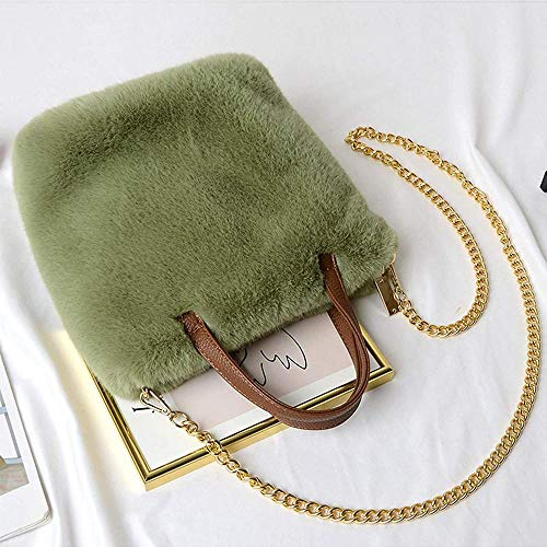 ZSW Fashion Faux Fur Bolsos de Invierno Bolso Bandolera de Hombro para Mujer-Verde