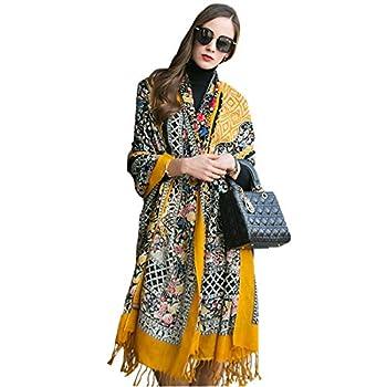 DANA XU 100% Pure Wool Women Winter Large Scarf Pashmina  Black   Yellow