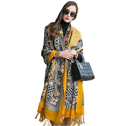 DANA XU 100% Pure Wool Women Winter Large Scarf Pashmina (Black) (Yellow)