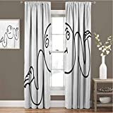 Toopeek Humor Blackout Curtain Whatever Guy Meme Confusion Gesture Label Creative Drawing Rage Makers Design 2 Panels W54 x L84 Inch Black and White