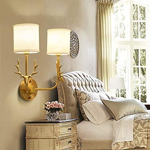 LATOO Lámpara de Mesa LED E14 Moderno Cobre + Tela Doble Cabeza de Ciervo Sala de Estar Dormitorio Luz de Pared/Luz de Fondo
