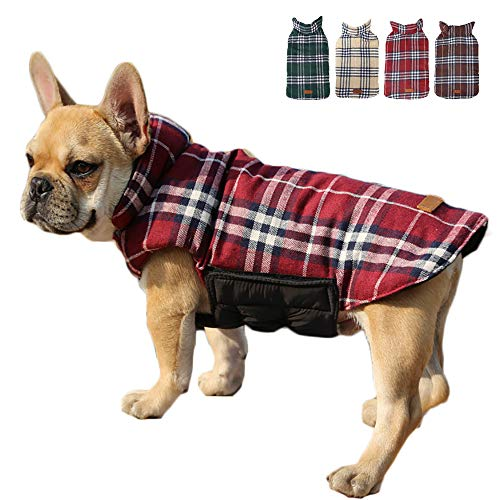TFENG Hundemantel Hundejacke für Hunde Welpen, Gepolstert Puffer Umkehrbares Design Weste Regenmantel (Rot, Größe S)