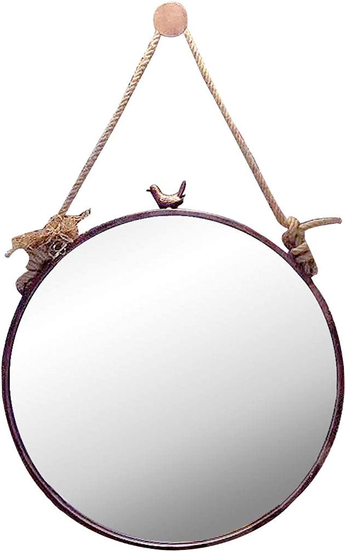 Retro Wall Mirror Bird Decorative Mirror Round Metal Frame Wall Hanging Mirror Creativity Dressing Mirror Bathroom Living Room Hallway- gold Copper-Diameter 11.8-31.5 Inch