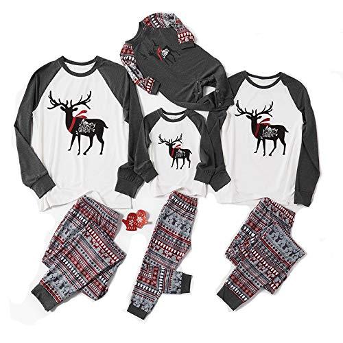 N/W Conjunto de pijama de Navidad de la Familia de Reno a Cuadros Pijamas para la Familia Bebé Niños Mujeres Hombres Pijamas Cuadros Reno X'Mas Regalo Mujer-M
